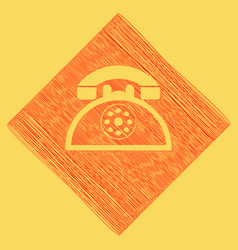 Retro telephone sign red scribble icon vector