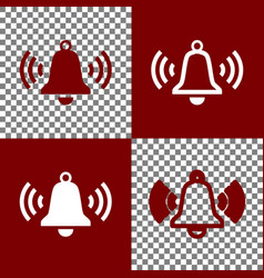 Ringing bell icon bordo and white icons vector