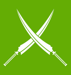 Samurai swords icon green vector