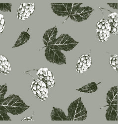 Seamless pattern with hand drawn hop vector