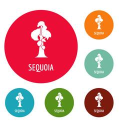 Sequoia icons circle set vector
