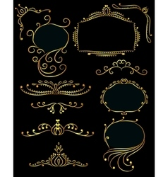 Set of design elements golden vector