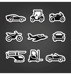 Set stickers transport icons vector