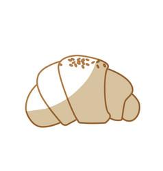 Silhouette delicious fesh bakery croissant bread vector