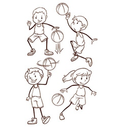 Simple sketches of basketball players vector image vector image