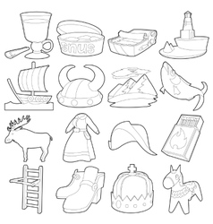Sweden travel symbols icons set outline style vector