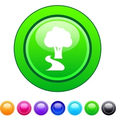 Tree circle button vector image