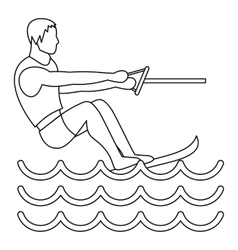 Water ski icon simple style vector