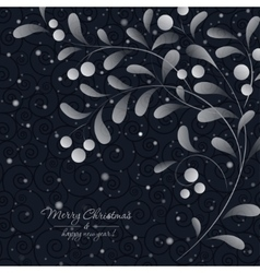 White sprig with berries on dark background vector