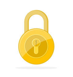 yellow lock icon vector image