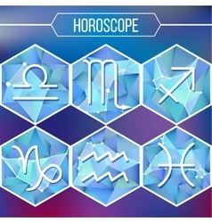 Zodiac signs and constellation into hexagonal vector