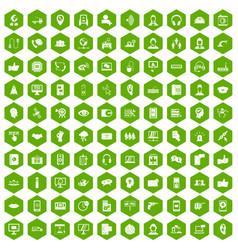 100 call center icons hexagon green vector