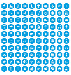 100 landscape icons set blue vector