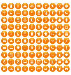 100 womens accessories icons set orange vector