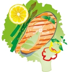 Bright juicy grilled fish on a lettuce leaf vector