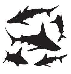 Shark silhouettes set vector image