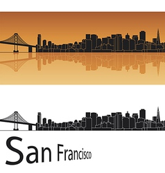 San francisco skyline in orange background vector