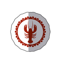 Sticker red stamp border with silhouette lobster vector