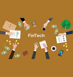 fintech financial technology concept discussion vector image