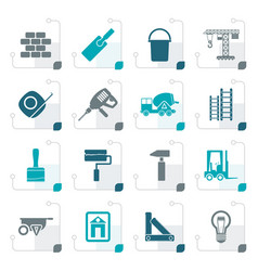 Stylized construction and building icons vector