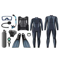 Scuba diving equipment in black color vector