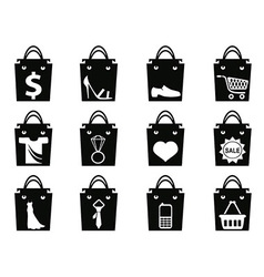 Black shopping bag icons set vector