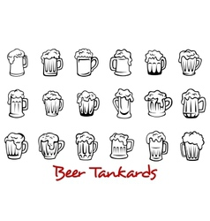 Beer tankards set vector