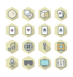 Thin line icons for leisure vector