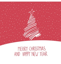 Hand drawn merry christmas card vector