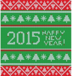 Bright christmas knitted pattern with trees vector