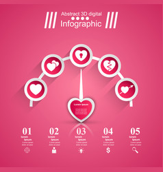 3d infographic heart speedomete vector