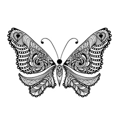Zentangle stylized black butterfly hand drawn vector