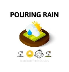 Pouring rain icon in different style vector