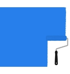Blue paint roller painting the wall vector