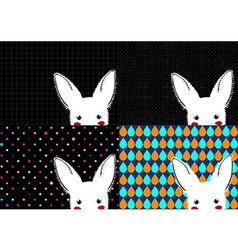 Set white rabbit background vector