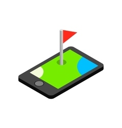 Phone icon with a golf flag isometric 3d icon vector image