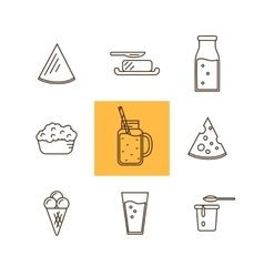 Dairy icon set in line style design milk cheese vector