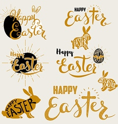 Happy easter set of labels and design elements vector