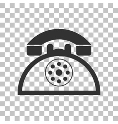 Retro telephone sign dark gray icon on vector