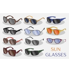 Set of the different sun glasses vector image