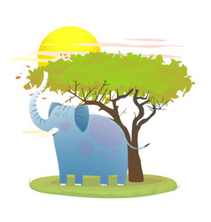 blue baby elephant in nature with tree and sun vector image vector image