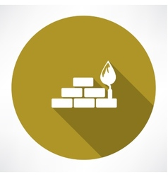 Bricks and trowel icon vector