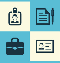 Business icons set collection of id badge vector