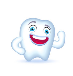 cartoon tooth character with hand on his hip vector image vector image
