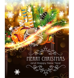 Christmas ornaments with candles and fir branches vector