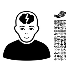Clever Boy Flat Icon With Bonus vector image