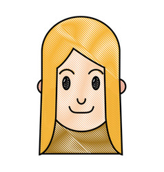 drawing blnde woman head smiling design vector image vector image
