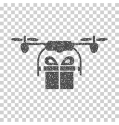 Drone gift delivery grainy texture icon vector
