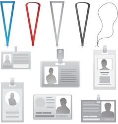 Employee cards collection lanyards with vector