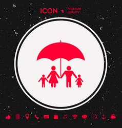 Family under umbrella - family protect icon vector